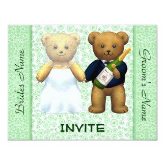 El boda verde de los osos de peluche invita a invitación 10,8 x 13,9 cm