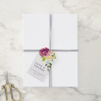 El boda vibrante de la floración le agradece etiquetas para regalos