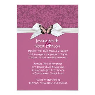 El boda violeta oscuro elegante del damasco de invitación 12,7 x 17,8 cm