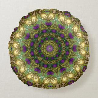 El bohemio verde púrpura soña alrededor del cojín redondo