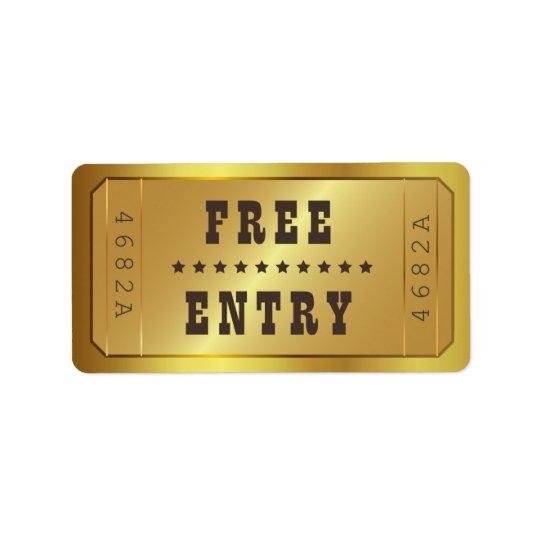 El boleto de oro admite un vintage libre de la etiquetas de dirección