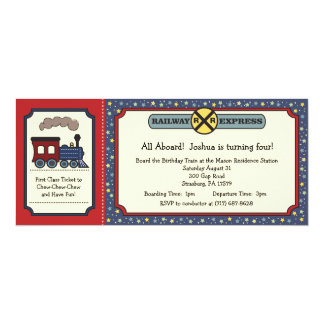 El boleto de tren invita - rojo rústico y el azul invitación 10,1 x 23,5 cm