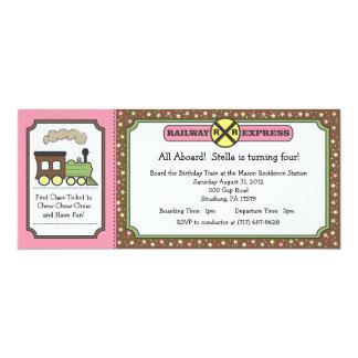 El boleto de tren invita - rosa y Brown Invitación 10,1 X 23,5 Cm