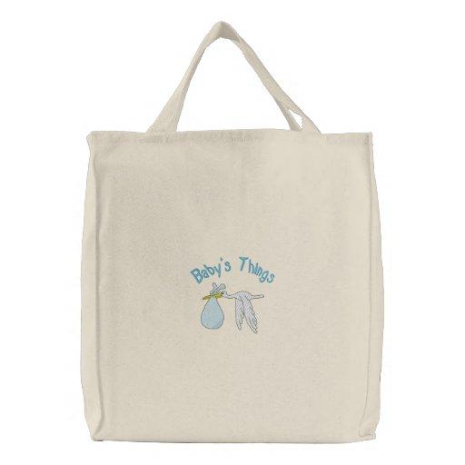 El bolso bordado cosas del bebé azul bolsa