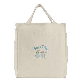El bolso bordado cosas del bebé azul bolsa de tela bordada