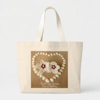 El bolso del boda de playa para la novia nombra ca bolsas lienzo