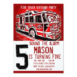El bombero del coche de bomberos embroma invitación 11,4 x 15,8 cm