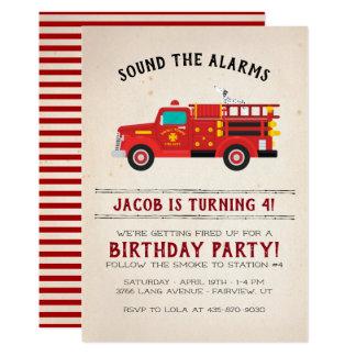 El bombero embroma la invitación del cumpleaños
