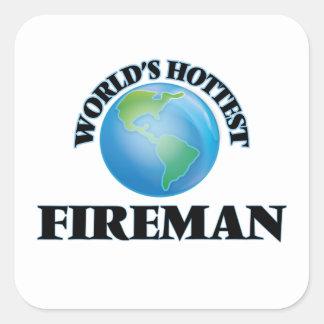 El bombero más caliente del mundo calcomanías cuadradass