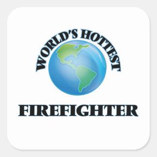El bombero más caliente del mundo pegatinas cuadradas