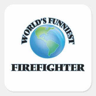 El bombero más divertido del mundo pegatina cuadrada