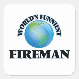 El bombero más divertido del mundo calcomania cuadrada personalizada