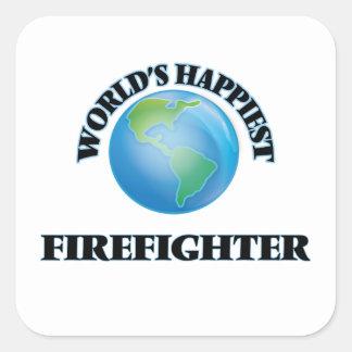 El bombero más feliz del mundo pegatina cuadrada