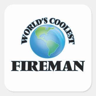El bombero más fresco del mundo pegatina cuadradas