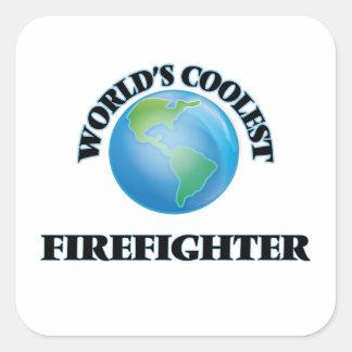El bombero más fresco del mundo pegatina cuadrada