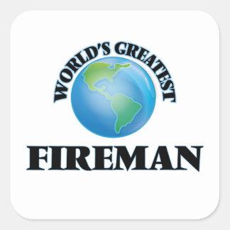 El bombero más grande del mundo calcomanía cuadrada personalizada