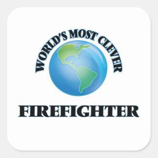 El bombero más listo del mundo calcomanías cuadradass