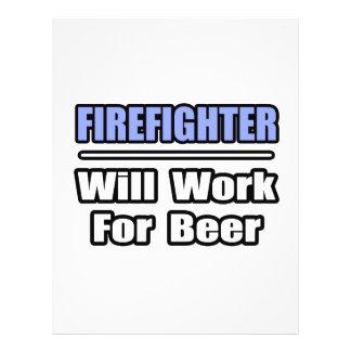 El bombero… trabajará para la cerveza tarjetas informativas