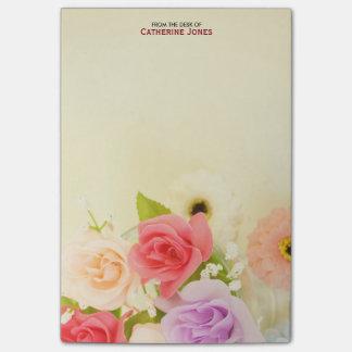 El bonito colorido florece floral personalizada el notas post-it®