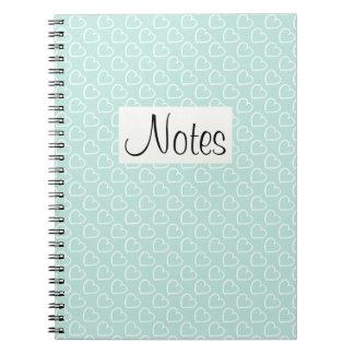 El bonito por todo corazones diseña blanco en azul cuaderno