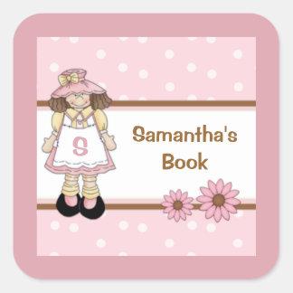 El Bookplate personalizado del niño rosado del Pegatina Cuadrada