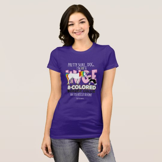 El border collie resuelve unicornio camiseta