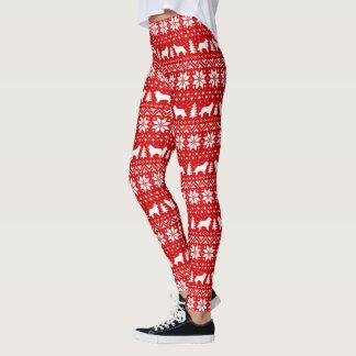 El border collie siluetea el modelo del navidad leggings