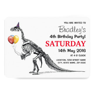 El bosquejo del dinosaurio hincha a la fiesta de invitación 12,7 x 17,8 cm