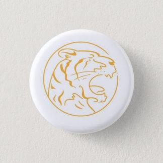 El botón redondo del tigre anaranjado enojado