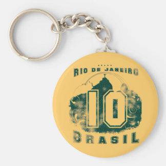 El Brasil 10 Llavero Redondo Tipo Chapa