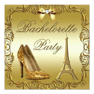 El brillo atractivo del oro de París calza Invitación 13,3 Cm X 13,3cm
