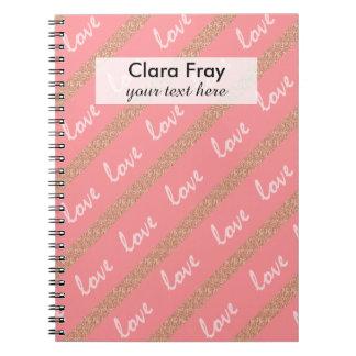 el brillo color de rosa del oro raya el modelo de cuaderno