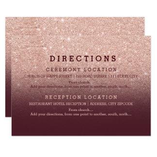 El brillo color de rosa moderno Borgoña del oro Invitación 8,9 X 12,7 Cm