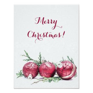 El brillo del navidad adorna la pintura al óleo invitación 10,8 x 13,9 cm