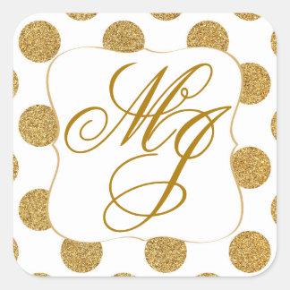 El brillo del oro puntea el monograma blanco Labe Pegatina Cuadrada