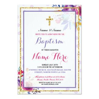 El brillo floral del oro del bautizo del bautismo invitación 12,7 x 17,8 cm