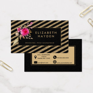 Tarjeta De Visita el brillo negro del oro raya la tarjeta de visita