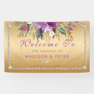 El brillo púrpura florece el boda del oro de los