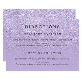 El brillo púrpura moderno de la lavanda detalla el invitación 8,9 x 12,7 cm