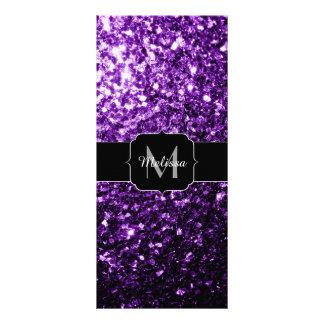 El brillo púrpura oscuro hermoso chispea monograma tarjeta publicitaria