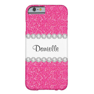 El brillo rosado femenino de encargo chispea caso funda barely there iPhone 6