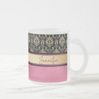 El brillo rosado, oro negro remolina nombre del taza de cristal esmerilado