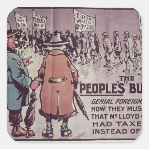 El Budget', 1909 de la gente Calcomania Cuadradas