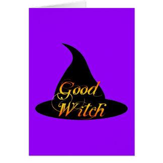 El buen decir de Halloween de la bruja Tarjeta De Felicitación