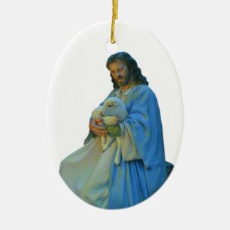 El buen pastor adorno navideño ovalado de cerámica