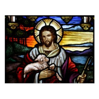 El buen pastor; Jesús en el vitral Postal
