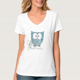 El búho azul de Bling del brillo del diamante Camiseta