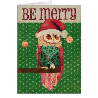 El búho de Rosa sea tarjeta de las Felices Navidad