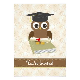 El búho lindo, mortero, fiesta de graduación del invitación 11,4 x 15,8 cm