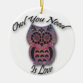El búho que usted necesita es amor, ornamento del
